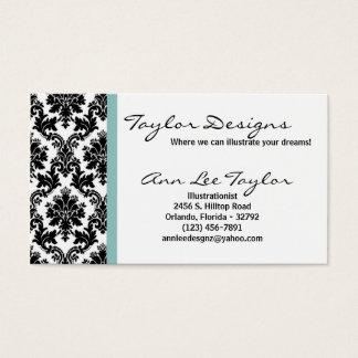 Damask and Blue Elegant Business Card