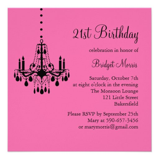 Damask and Crystals 21st Birthday Invitation