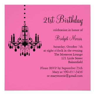 Damask and Crystals 21st Birthday Invitation