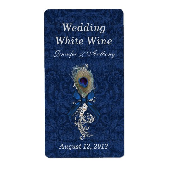 Damask and Peacock Feather Wedding Mini Wine Shipping Label