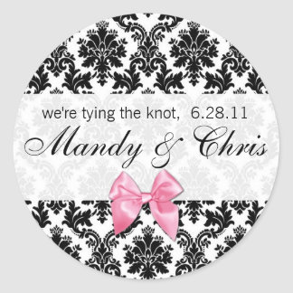 Damask and Pink Bow Classic Round Sticker