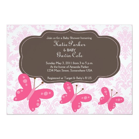 Damask and Pink Butterfly Invitation