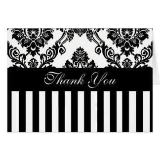 Damask and Stripe Thank You Card