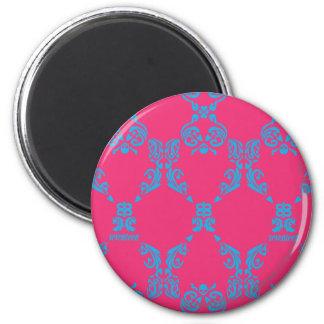 Damask Aqua-Magenta 6 Cm Round Magnet