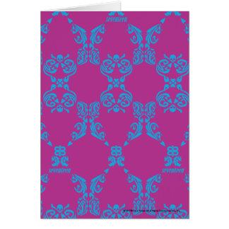 Damask Aqua-Purple Card