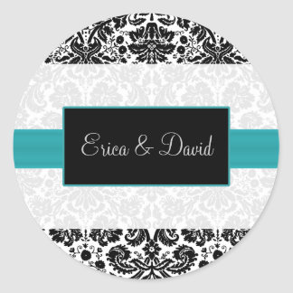 damask aqua   Wedding Monogram stickers