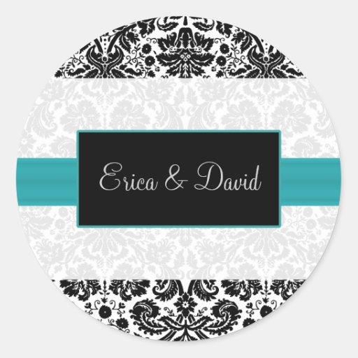 damask aqua   Wedding Monogram stickers