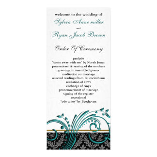 damask aqua Wedding program Rack Card Design