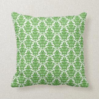 Damask - Avocado Green on White Throw Cushions