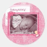 Damask Baby Girl Birth Photo Keepsake Round Stickers