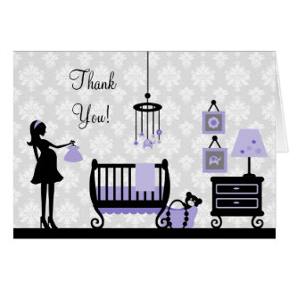 Damask Baby Shower Thank You : Card