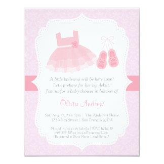 Damask Ballerina Girl Baby Shower Invitations