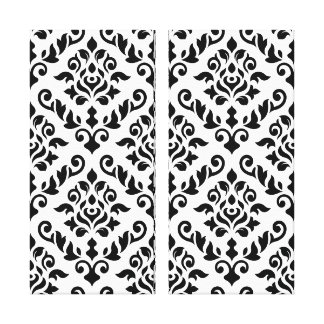 Damask Baroque Pattern Black on White Stretched Canvas Prints