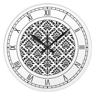 Damask Baroque Pattern Black on White Large Clock