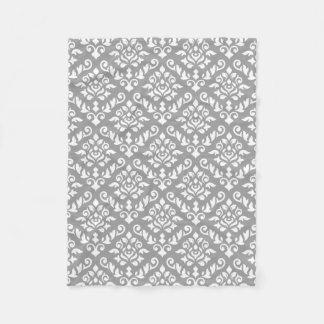 Damask Baroque Pattern White on Grey Fleece Blanket