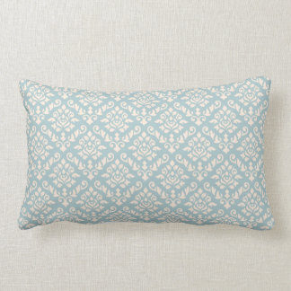 Damask Baroque Repeat Pattern Cream on Blue Lumbar Cushion