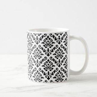 Damask Baroque Rpt Pattern Black on White Coffee Mug