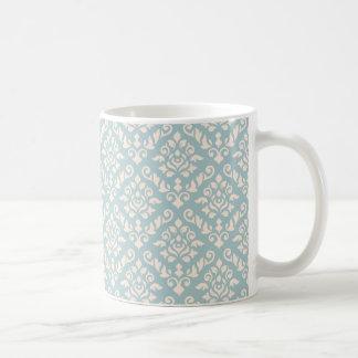 Damask Baroque Rpt Pattern Cream on Blue Coffee Mug