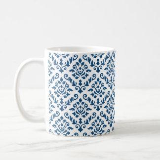 Damask Baroque Rpt Pattern Dk Blue on White Coffee Mug