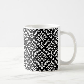 Damask Baroque Rpt Pattern White on Black Coffee Mug