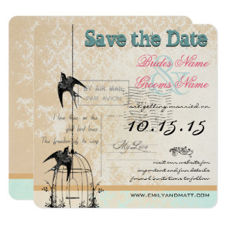 Damask Birdcage Wedding Save the Date Pink Green Card