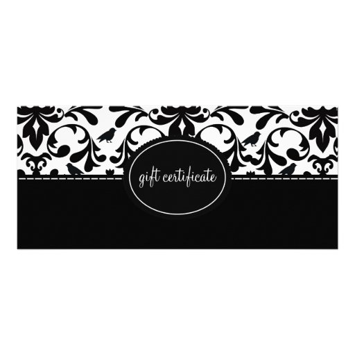 Damask Birds Boutique Style Gift Certificates Rack Card