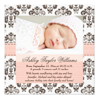 Damask Birth Announcement Pink and Brown