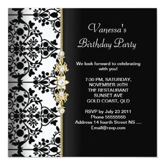 Damask Birthday Party Gold Black White Floral Card