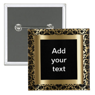 Damask Black and Gold | DIY Text 15 Cm Square Badge