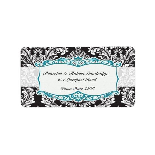 Damask black and white Wedding Avery Address Label