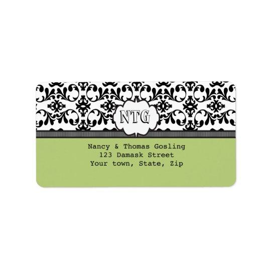 Damask black lime monogram Wedding Label