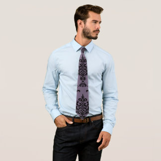 Damask Black on Gothic Purple Tie