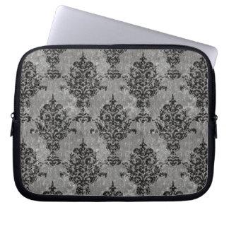 Damask Black on Gray Faux Stone Laptop Sleeve
