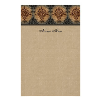 Damask Black on Tan Faux Parchment Stationery