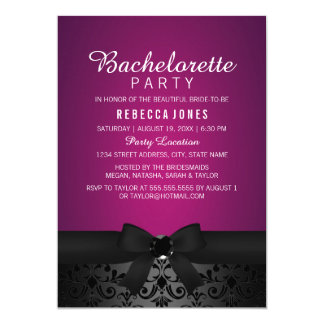 Damask Black & Pink Bow Bachelorette Party Invite