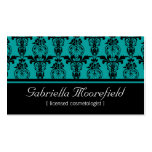 Damask Black Teal Cosmetologist Business Cards