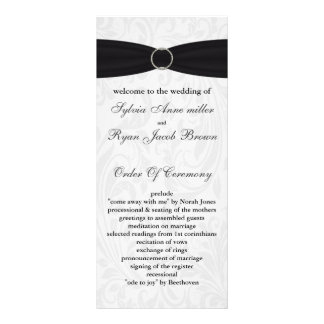 damask black Wedding program Personalized Rack Card