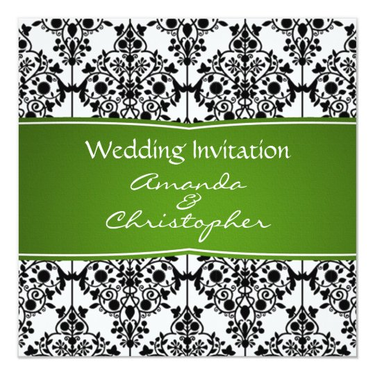 Damask black, white and green Wedding Invitation