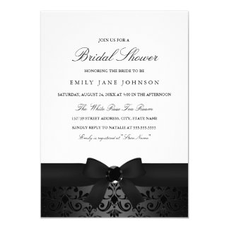 Damask Black & White Bow Bridal Shower Invite