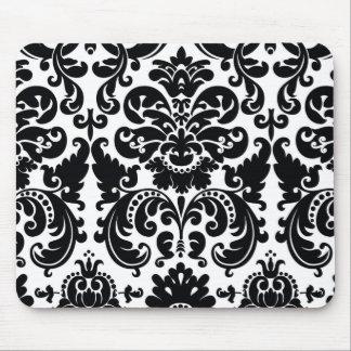 Damask Black White Elegant Chic Computer Mouse Pad