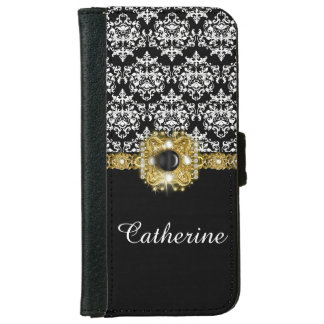 Damask black white girls gems iPhone 6 wallet case
