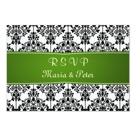 Damask black, white, green RSVP Invitation