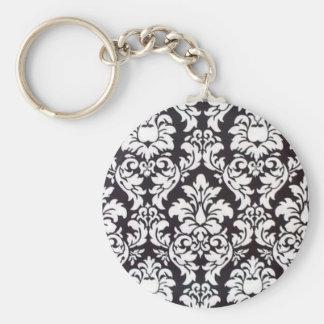 damask black & white keychain
