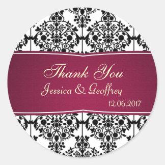 Damask black, white, magenta Thank you Wedding Classic Round Sticker