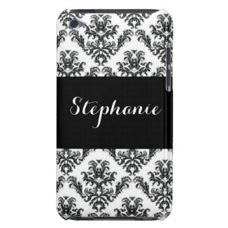 Damask Black White Pattern Print Barely There iPod Cases