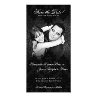 Damask Black & White Photo Save the Date Photo Card Template