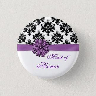 Damask black white purple bow Maid of Honor 3 Cm Round Badge