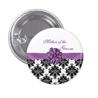 Damask black white purple bow Mother of the Groom 3 Cm Round Badge