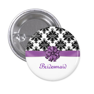 Damask black white purple bow Wedding Bridesmaid 3 Cm Round Badge