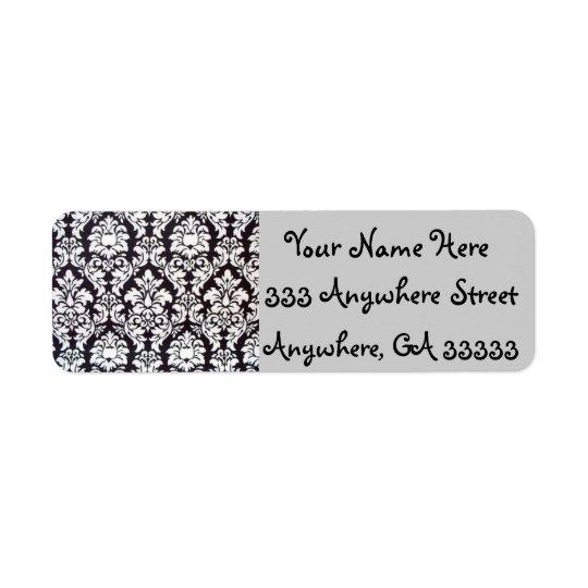 Damask black & white return address labels